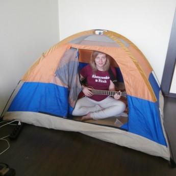 indoor camping tent serbia belgrade beograd guitar