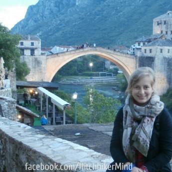 mostar photo bridge mandatory woman hitchhiking bosnia and herzegovina