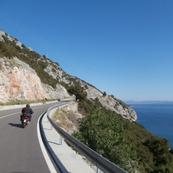 Coastal Road of Croatia hitchhiking motorbike