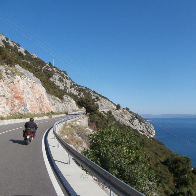 Coastal Road of Croatia hitchhiking motorbike