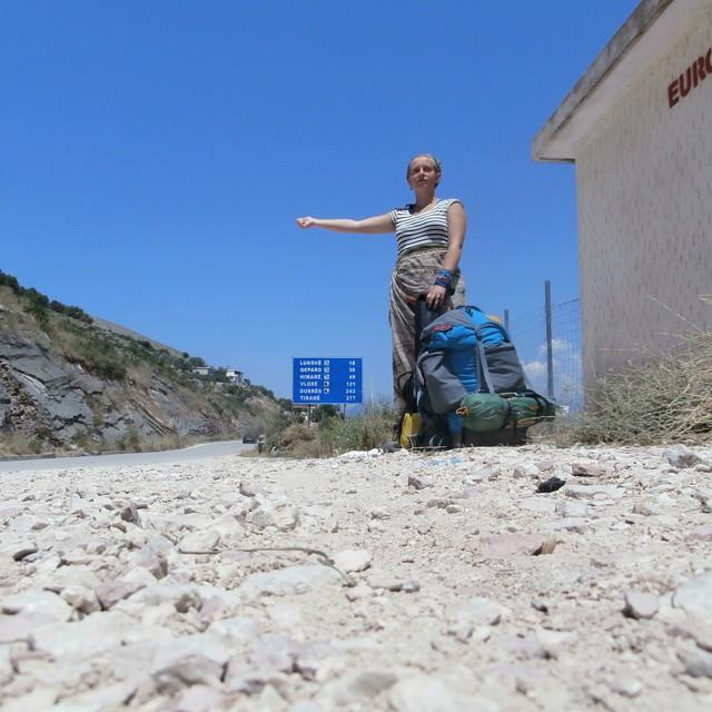 woman girl hitchhiking solo albania safety shqip shqiperia sarande hitch