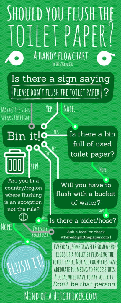 should I flush the toilet paper travel flowchart world map