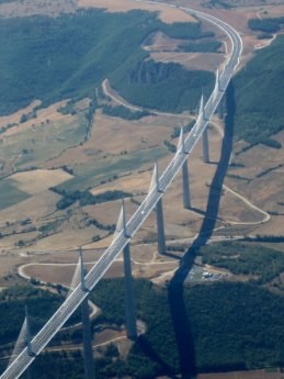 Millau Viaduct france hitchhiking aerial photograph