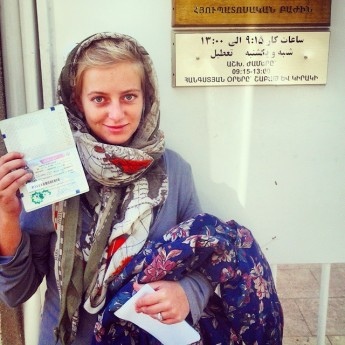 Iranian visa yerevan embassy Iran Armenia hitchhiking visa tourism woman solo female hitchhiker