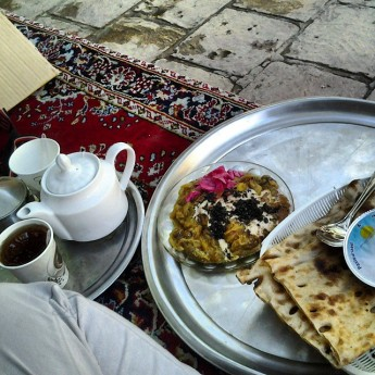 tea time kashan breakfast Iran iranian food eggplant yogurt