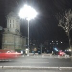 bucharest romania street night church