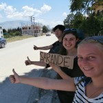 three hitchhikers Albania Saranda Sarandë three people hitchhiking together shqiperia