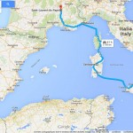 planned mediterranean hitchhiking route idealized version Europe Malta Sicily Sardinia Corsica Monaco France Italy