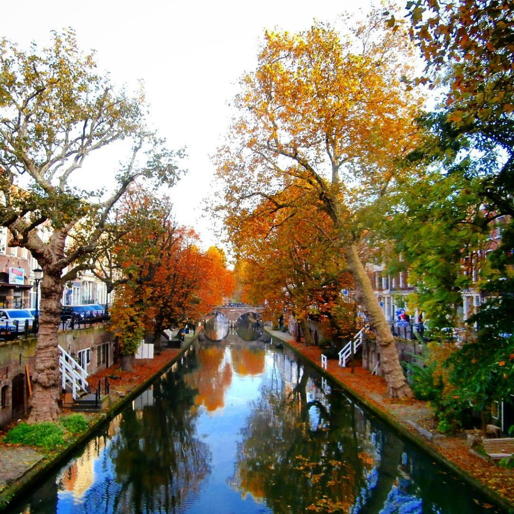 autumn canals of utrecht holland the netherlands