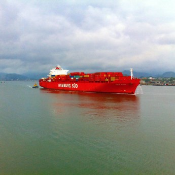 Container Ship in Santos Port
