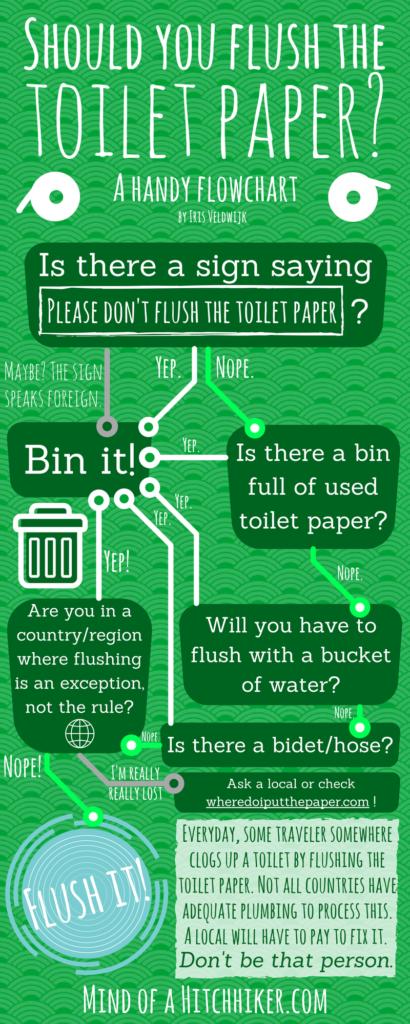 should I flush the toilet paper travel flowchart world map