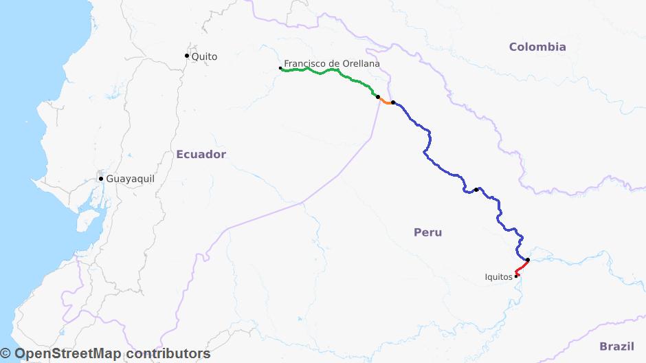 map iquitos perú el coca ecuador rio napo river boat