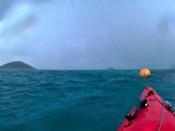 29 buoy orange kayaking Caribbean Sea Crab Cay Colombia rain storm