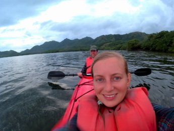 31 selfie kayaking shallow waters McBean Lagoon national natural park Colombia Old Providence