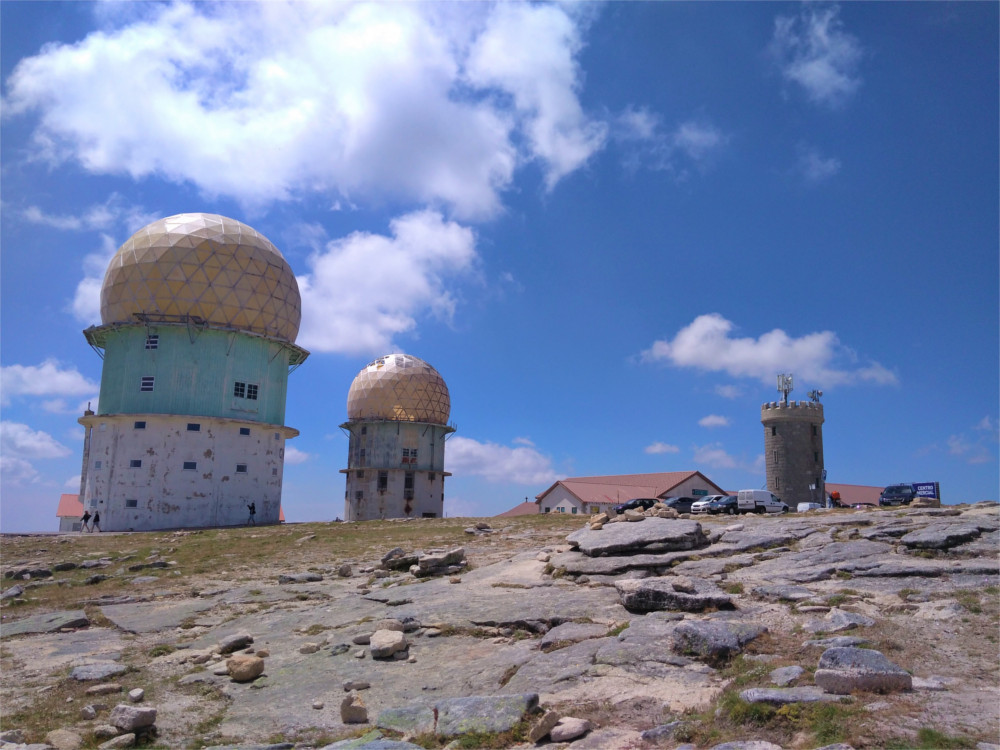 Torre Serra da Estrela Portugal radar station dome summer cheese hitchhiking Porto