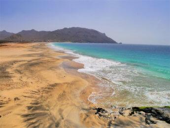 Praia de São Pedro beach Santo André São Vicente Mindelo Cabo Verde windsurfing atlantic ocean watersports