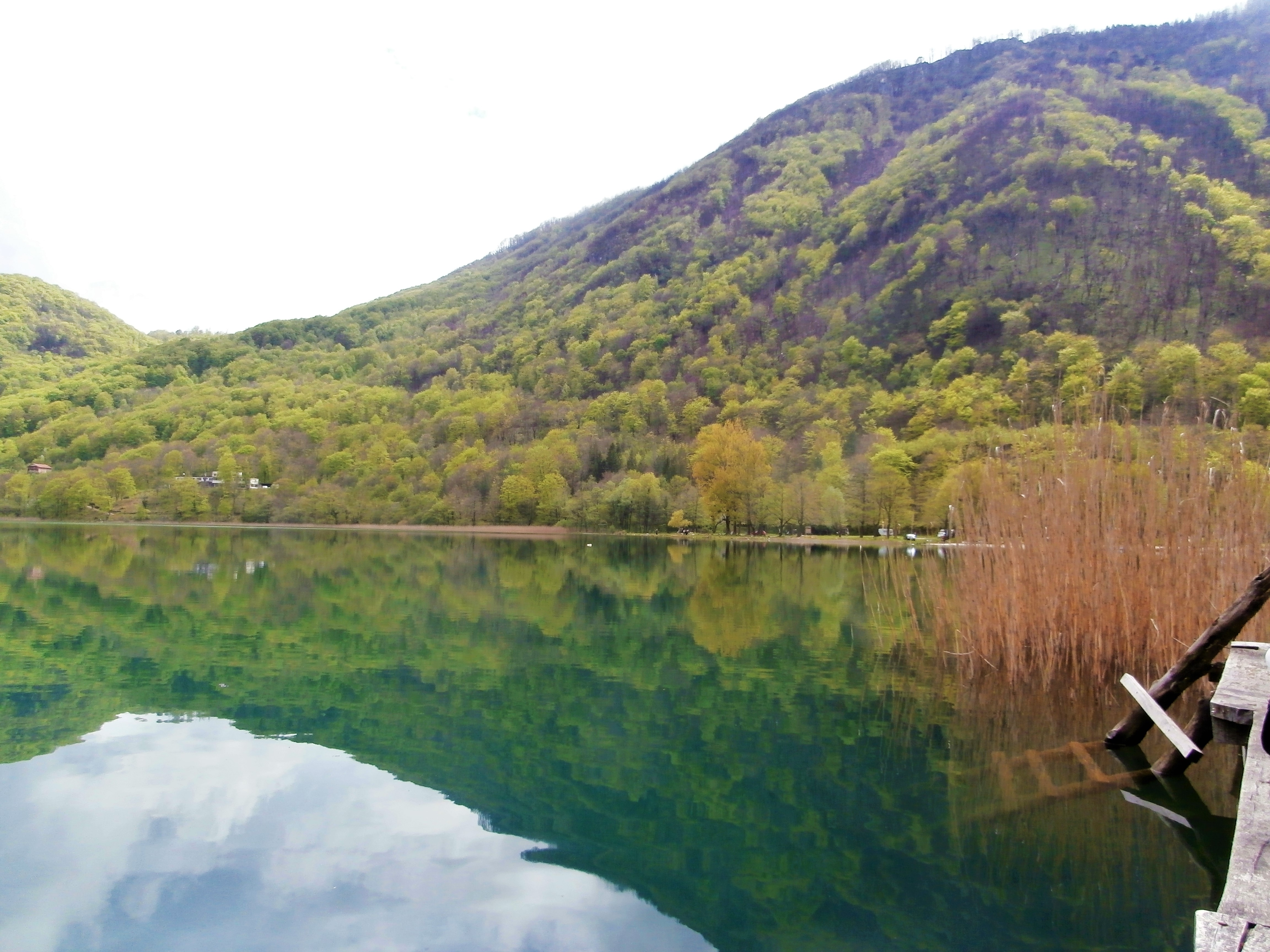 Boračko Lake hitchhiking Sarajevo Mostar Konjic Bosnia and Herzegovina BiH jetty reflection mountains forest