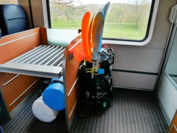 train cologne donaueschingen köln IC inflatable canoe kayak backpack paddle dry bag