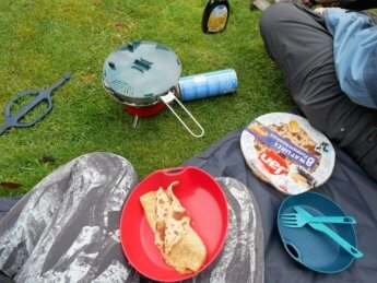 kayak trip inflatable canoe sevylor adventure plus test camping stove cooking pancake gas