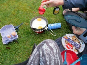 kayak trip inflatable canoe sevylor adventure plus test camping stove cooking egg parmesan