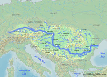 Danube course river map overview wikipedia Shannon