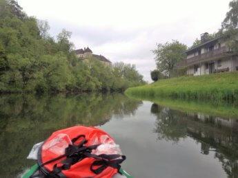 Kayak trip day 5 paddle canoe Scheer river bend Baden-Württemberg south germany spring castle schloss
