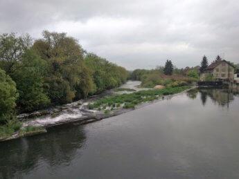 Kayak trip day 5 paddle canoe Scheer river bend Baden-Württemberg south germany second dam weir wehr danger