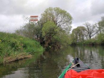 Kayak trip day 5 donau danube exit blochingen mengen warning sign canoe paddle