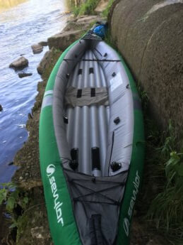 asymmetrical inflatable kayak Sevylor unbalanced boat Danube donau trip paddle kayak canoe