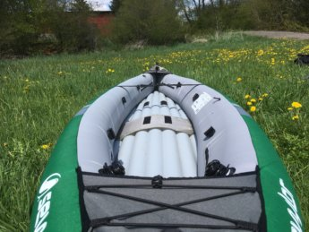 before asymmetrical inflatable kayak Sevylor unbalanced boat Danube donau trip paddle kayak canoe