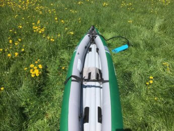 after asymmetrical inflatable kayak Sevylor unbalanced boat Danube donau trip paddle kayak canoe
