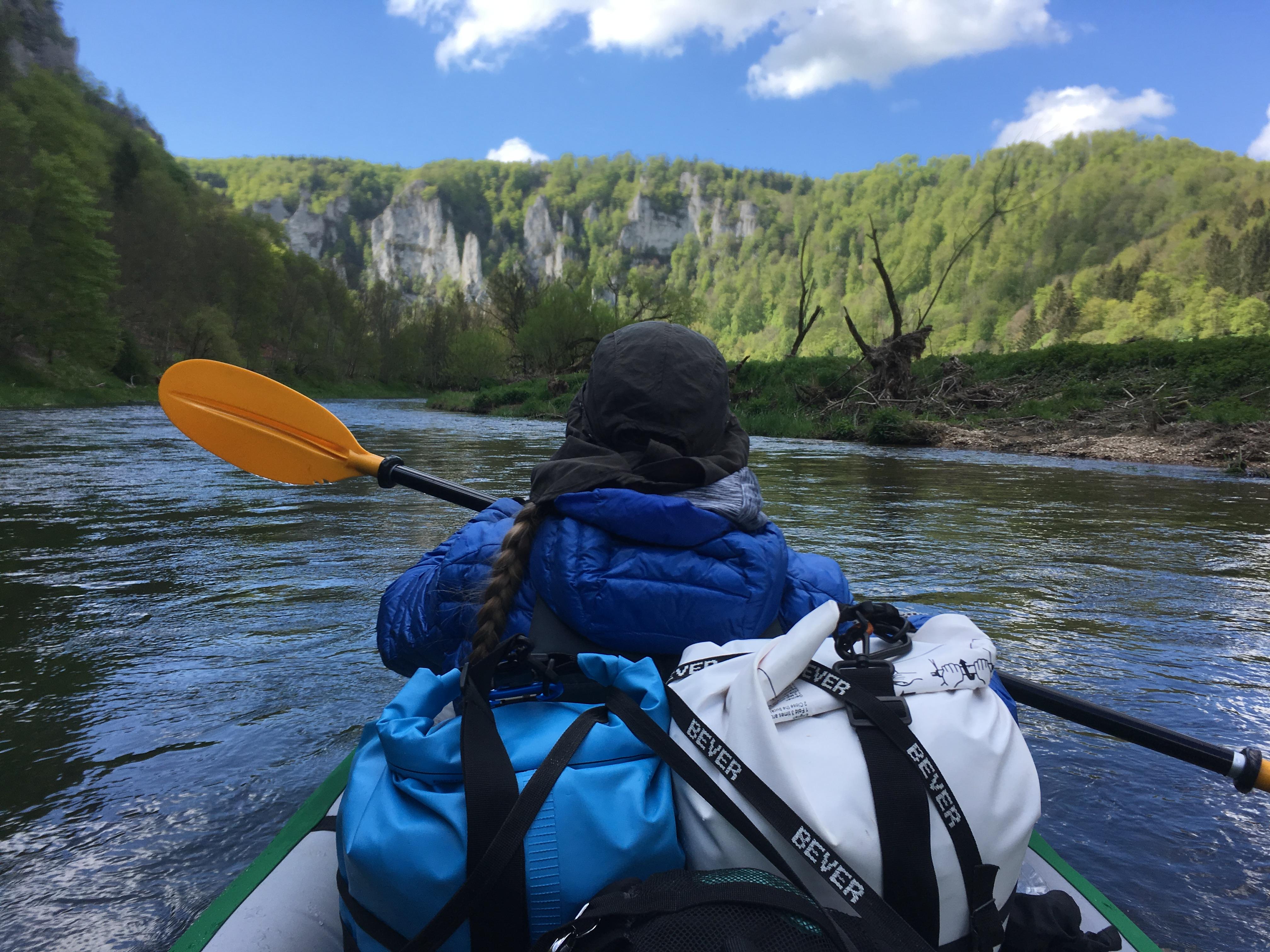 kayak trip day 4 Hausen im Tal to Sigmaringen via Donau Danube canyon schlucht young junge river fluss Swabia Schwäbische Alb