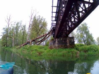Kayak trip day 5 broken train bridge near Sigmaringen Sigmaringendorf south Germany kayak Danube Donau munderkingen