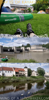 Day 10: after one night on the campground in Dettingen an der Donau, we paddled on to Donauwörth. The weather improved a lot, so we had to share the space on the Danube river with fishermen. #Donau #Dettingen #DettingenanderDonau #Donauwörth #Bavaria #Bayern #Germany #Deutschland #Danube #kayak #canoe #paddling #river #Europe #journey #digitalnomad #portage #travel #inflatablekayak #inflatablecanoe
