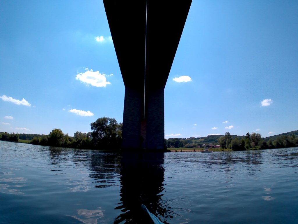 39 Day 15 Kelheim Regensburg bridge highway canoe kayak inflatable Danube Donau Bavaria Germany Bayern
