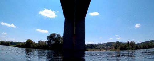 39 Day 15 Kelheim Regensburg bridge highway canoe kayak inflatable Danube Donau Bavaria Germany Bayern