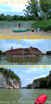 On the 14th day of our kayak trip, we paddled our inflatable canoe from Vohburg to Kelheim. On that route, we passed some of the most spectacular landscapes on the Danube River: the Donaudurchbruch. We also named our boat! I introduce you: Zucchini. #Zucchini #canoe #kayak #Danube #Vohburg #Kelheim #Bavaria #Germany #travel #Europe #river #paddle #adventure #digitalnomad #Donau #Bayern #Deutschland #abbey #Weltenburg #Altmühl
