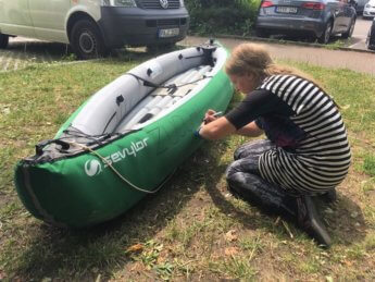Day 14 Vohburg Kelheim boat naming ceremony zucchini canoe kayak inflatable
