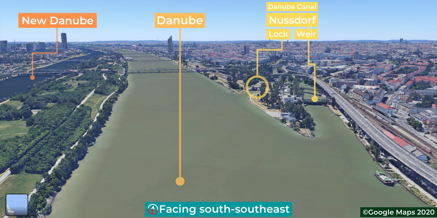 Donaukanal, Neue Donau, Haupt Donau, Danube Canal channel, New Danube, Main Danube