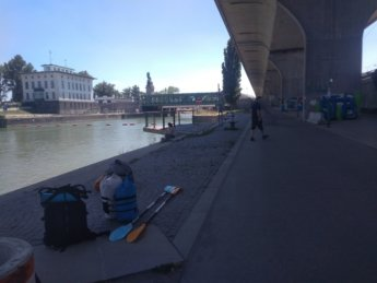4 packing up luggage under bridge Vienna Austria kayak canoe