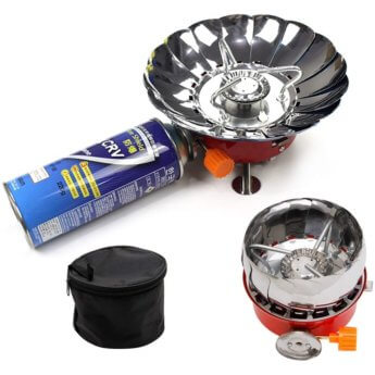 Camping stove built in windscreen