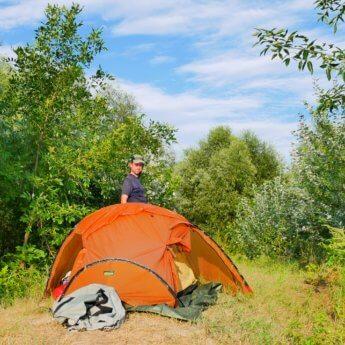 Our tent orange