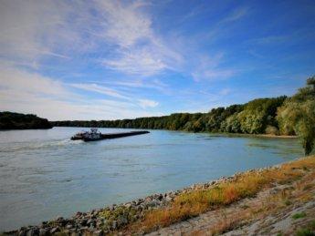 36 cargo ship danube river confluence morava austria slovakia