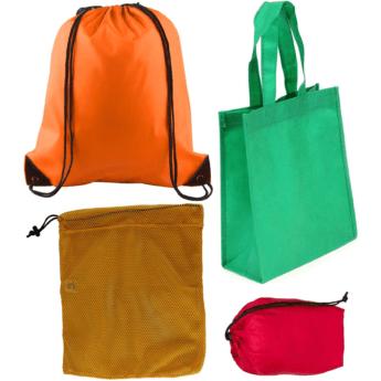 fabric cloth shopping drawstring sackpack mesh stuff sack bag collage