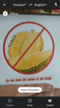 google translate offline camera durian