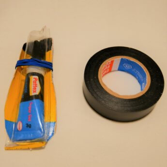 superglue and electrical tape
