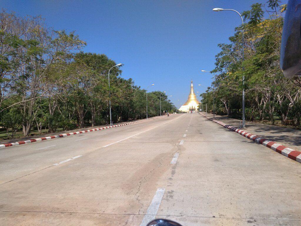 Arriving Uppatasanti Pagoda Naypyidaw motorbike