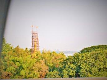 Shampoo Island main pagoda scaffolding construction renovation restauration January 2020 train Yangon to Mawlamyine