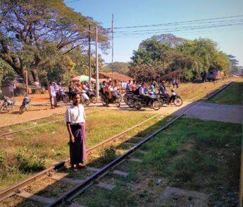 phone 1 Train Yangon to Mawlamyine level crossing