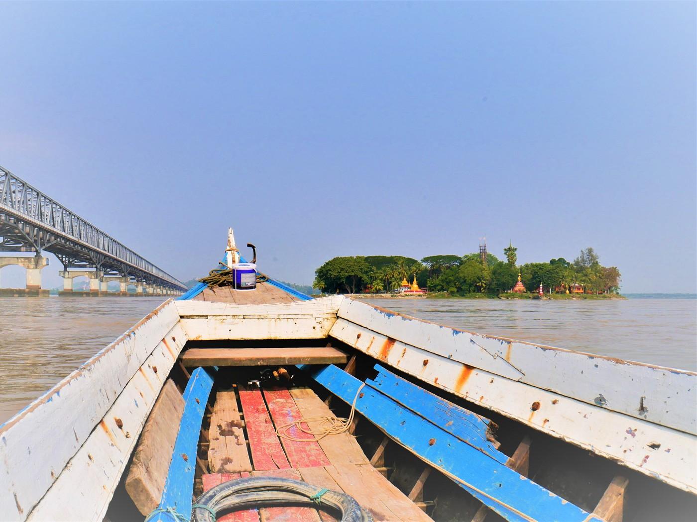 Ferry ride jetty Gaung Say Kyun Shampoo Island Mawlamyine Myanmar